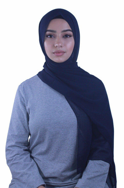 Navy Blue Chiffon Hijab - Abaya, Hijabs, Jilbabs, on sale now at UrbanModesty.com