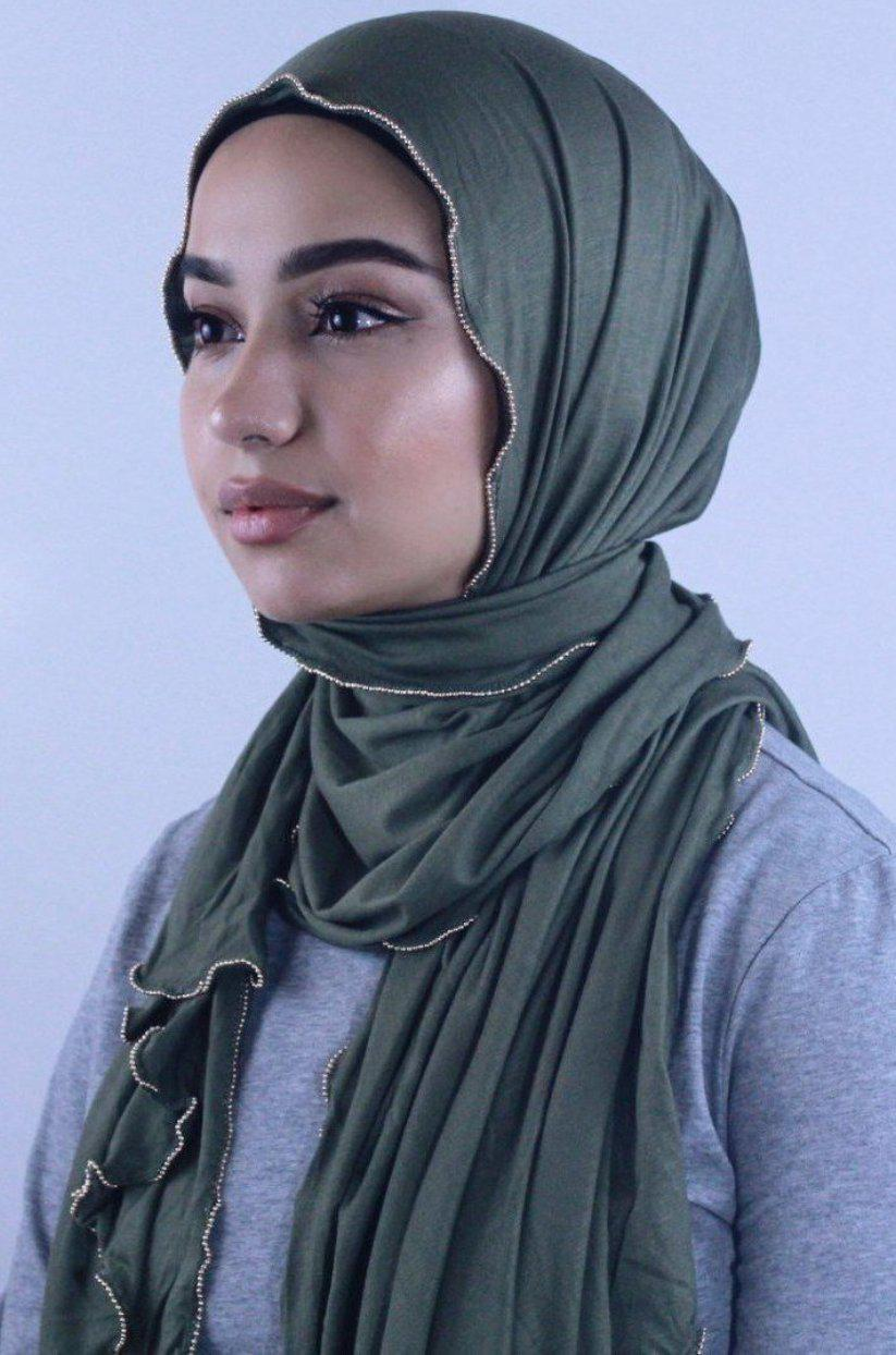 Olive Jersey Solid With Beaded Trim Hijab - Abaya, Hijabs, Jilbabs, on sale now at UrbanModesty.com