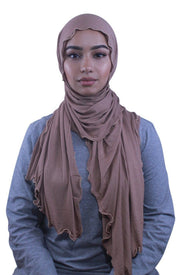 Taupe Jersey Solid With Beaded Trim Hijab - Abaya, Hijabs, Jilbabs, on sale now at UrbanModesty.com