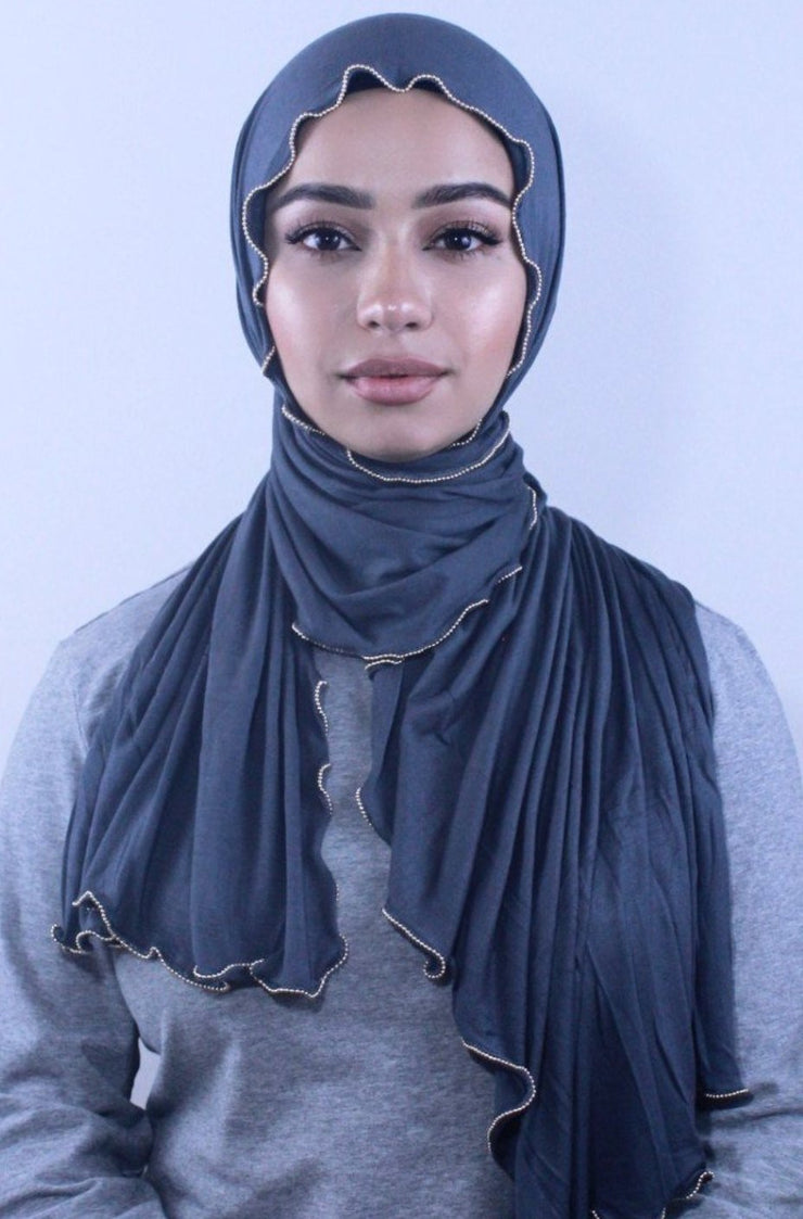 Slate Jersey Solid With Beaded Trim Hijab - Abaya, Hijabs, Jilbabs, on sale now at UrbanModesty.com