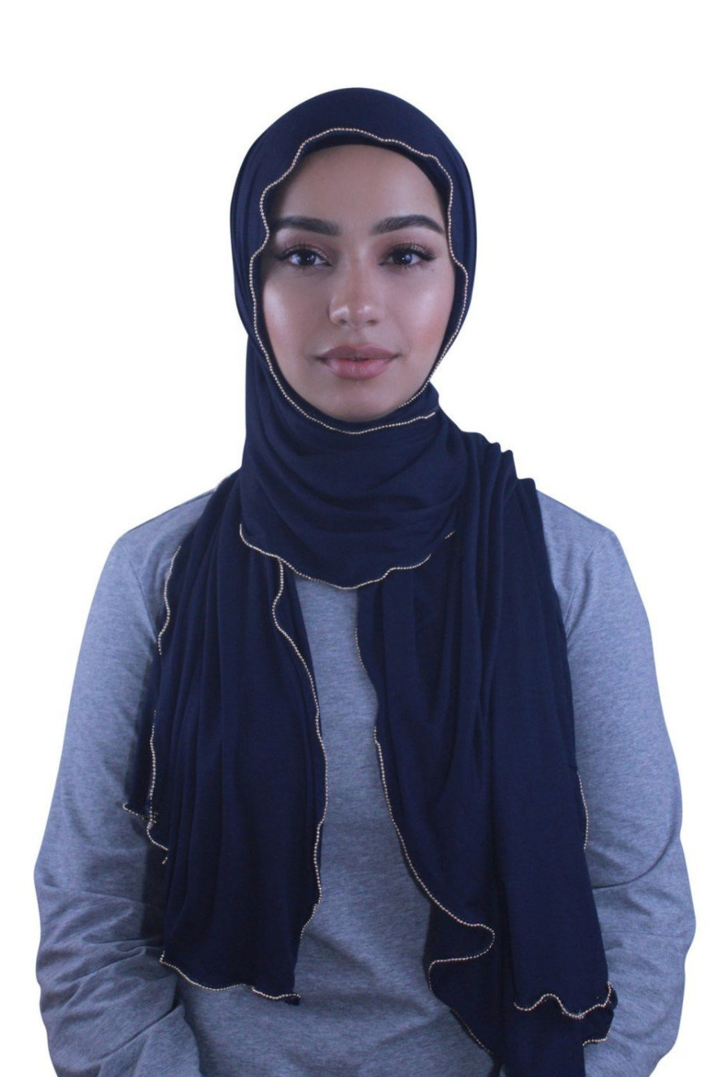 Navy Blue Jersey Solid With Beaded Trim Hijab - Abaya, Hijabs, Jilbabs, on sale now at UrbanModesty.com