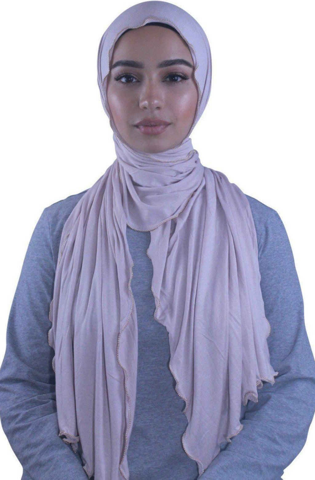 Beige Solid With Beaded Trim Hijab - Abaya, Hijabs, Jilbabs, on sale now at UrbanModesty.com