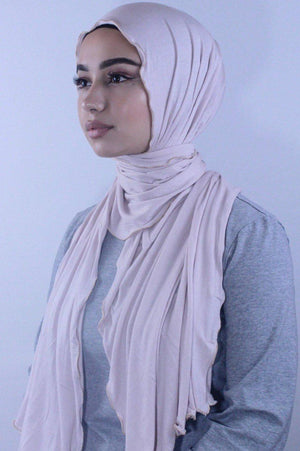 Beige Jersey Solid With Beaded Trim Hijab - Abaya, Hijabs, Jilbabs, on sale now at UrbanModesty.com