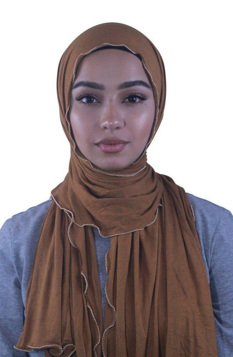 Carmel Jersey Solid With Beaded Trim Hijab - Abaya, Hijabs, Jilbabs, on sale now at UrbanModesty.com