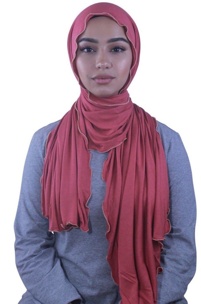 Apricot Jersey Solid With Beaded Trim Hijab - Abaya, Hijabs, Jilbabs, on sale now at UrbanModesty.com