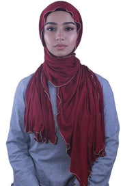 Maroon Jersey Solid With Beaded Trim Hijab - Abaya, Hijabs, Jilbabs, on sale now at UrbanModesty.com