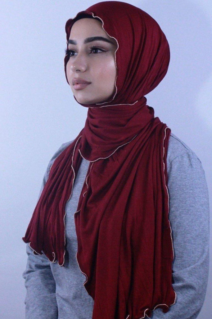 Maroon Jersey Solid With Beaded Trim Hijab-Hijabs-Urban Modesty Inc.