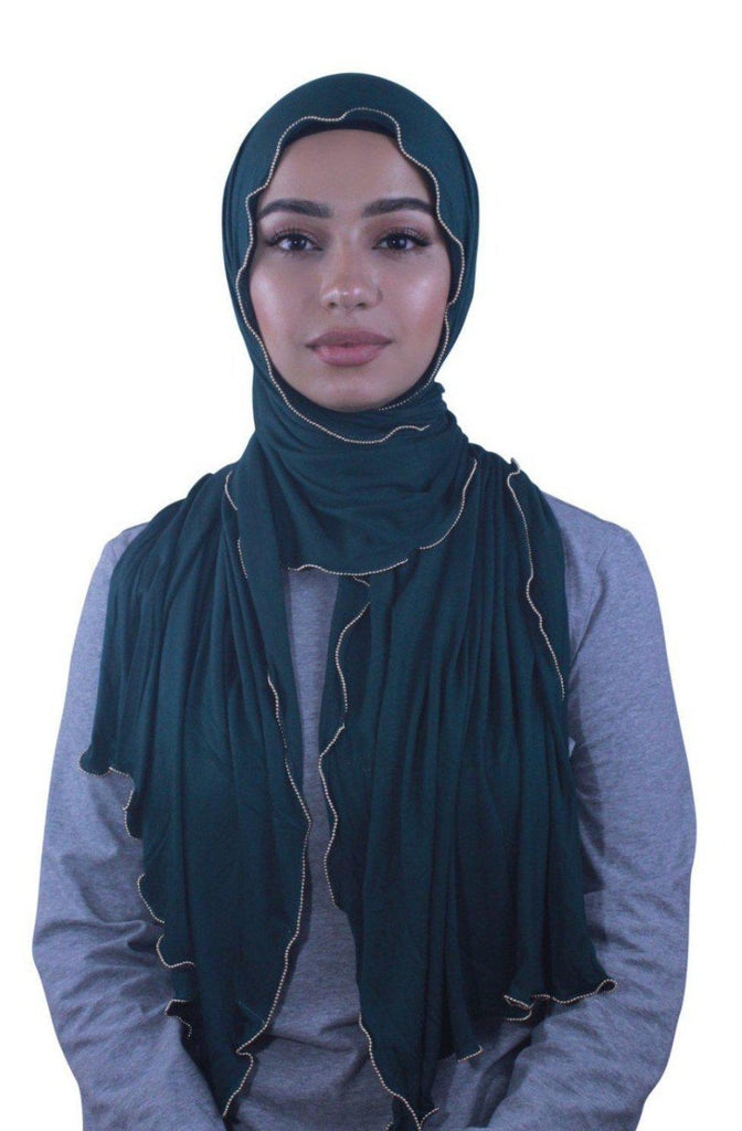 Teal Jersey Solid With Beaded Trim Hijab-Hijabs-Urban Modesty Inc.