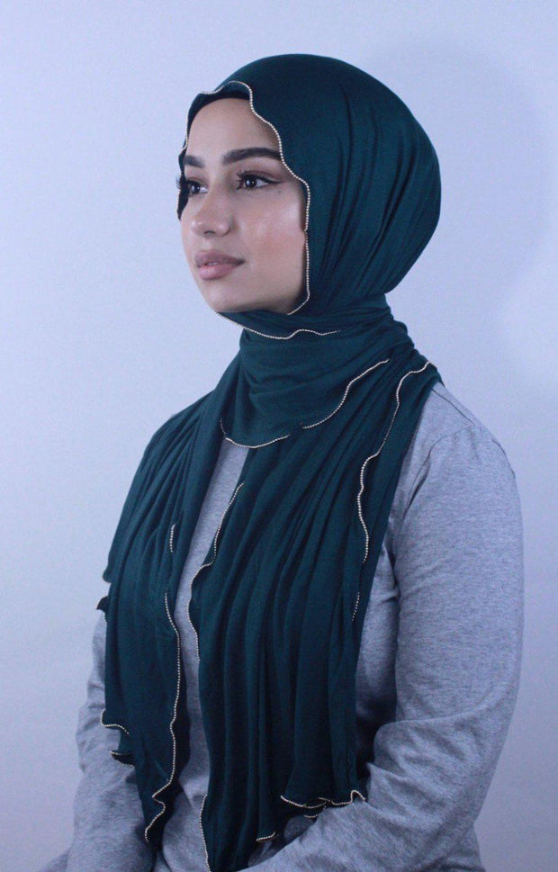 Teal Jersey Solid With Beaded Trim Hijab - Abaya, Hijabs, Jilbabs, on sale now at UrbanModesty.com