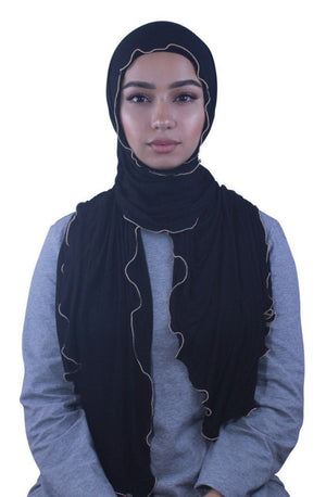 Black Jersey Solid With Beaded Trim Hijab - Abaya, Hijabs, Jilbabs, on sale now at UrbanModesty.com