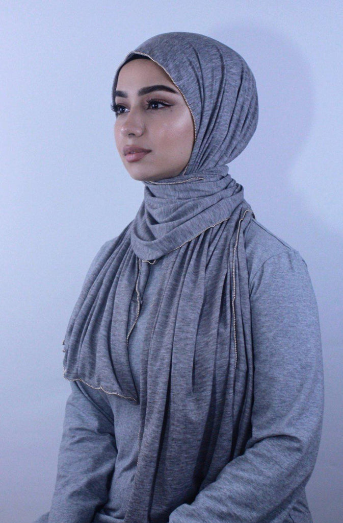 Gray Jersey Solid With Beaded Trim Hijab-Hijabs-Urban Modesty Inc.