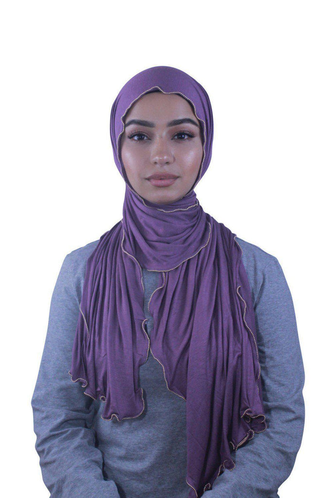 Mauve Jersey Solid With Beaded Trim Hijab 7-Hijabs-Urban Modesty Inc.