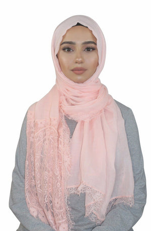 Salmon Lace Trim  Cotton Hijab-Clearance - Abaya, Hijabs, Jilbabs, on sale now at UrbanModesty.com