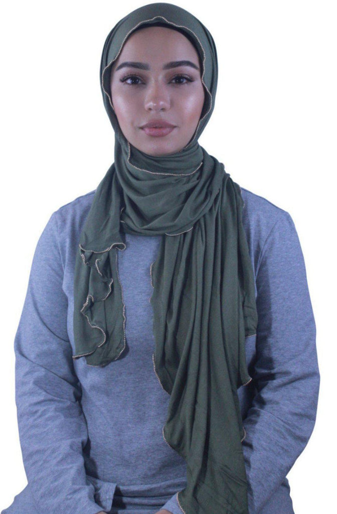 Olive Jersey Solid With Beaded Trim Hijab-Hijabs-Urban Modesty Inc.