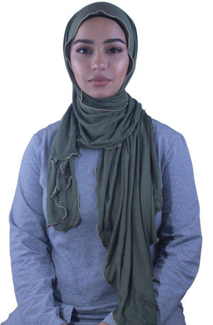 Olive Jersey Solid With Beaded Trim Hijab-Clearance - Abaya, Hijabs, Jilbabs, on sale now at UrbanModesty.com