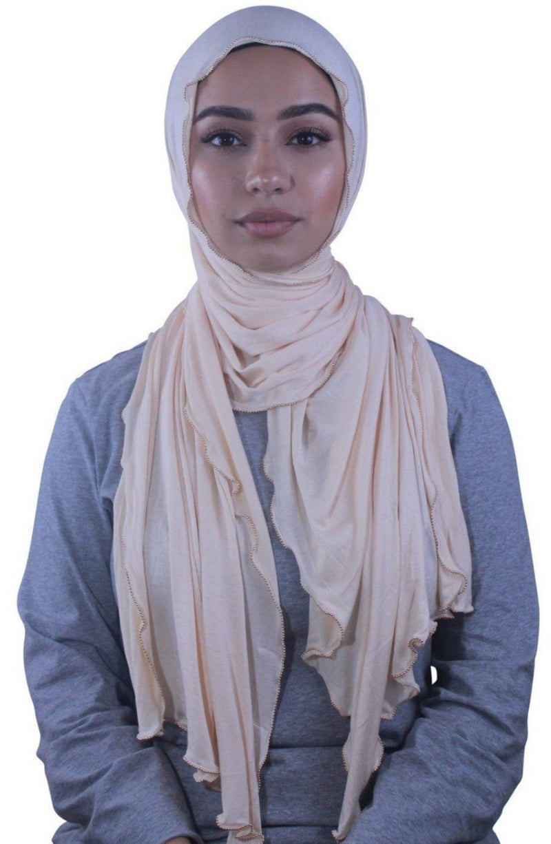 Soft Peach Jersey Solid With Beaded Trim Hijab - Abaya, Hijabs, Jilbabs, on sale now at UrbanModesty.com