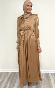 Bronze Satin Long Sleeve Maxi Dress