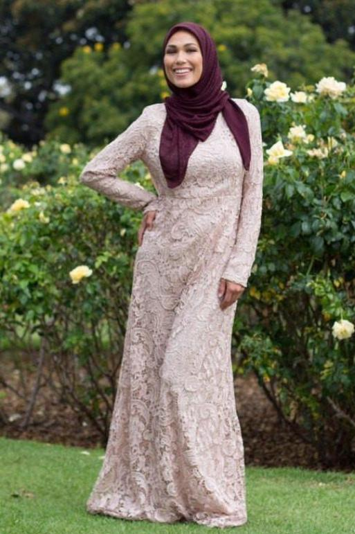 Noor Lace Long Sleeve Evening Gown-Evening Gowns-Urban Modesty Inc.