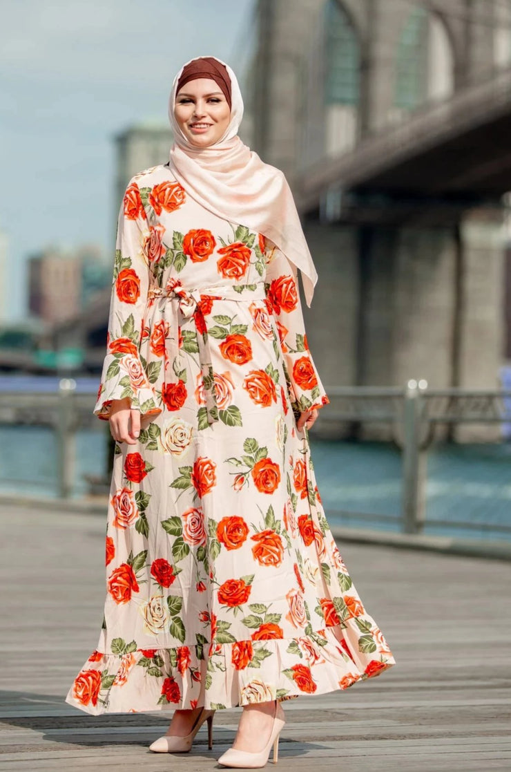 Rusty Rose Ruffle Sleeve Maxi Dress