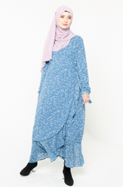 Blue Ruffle Faux Wrap Maxi Dress