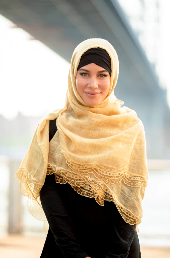 Mustard Lace Edge Cotton Hijab