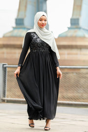 Eleanoir Black Long Sleeve Evening Gown-Clearance - Abaya, Hijabs, Jilbabs, on sale now at UrbanModesty.com