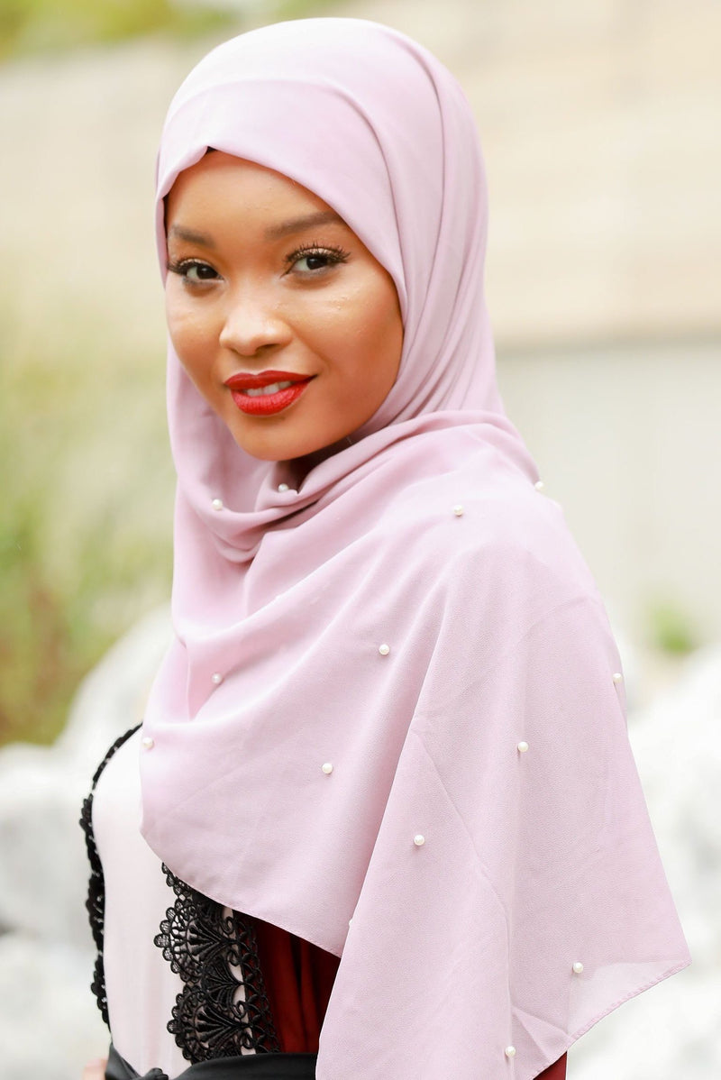 Dusty Pink Pearl Chiffon Hijab - Abaya, Hijabs, Jilbabs, on sale now at UrbanModesty.com