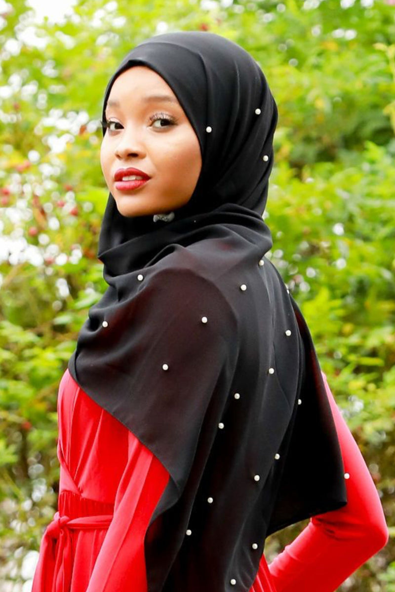 Black Pearl Chiffon Hijab - Abaya, Hijabs, Jilbabs, on sale now at UrbanModesty.com