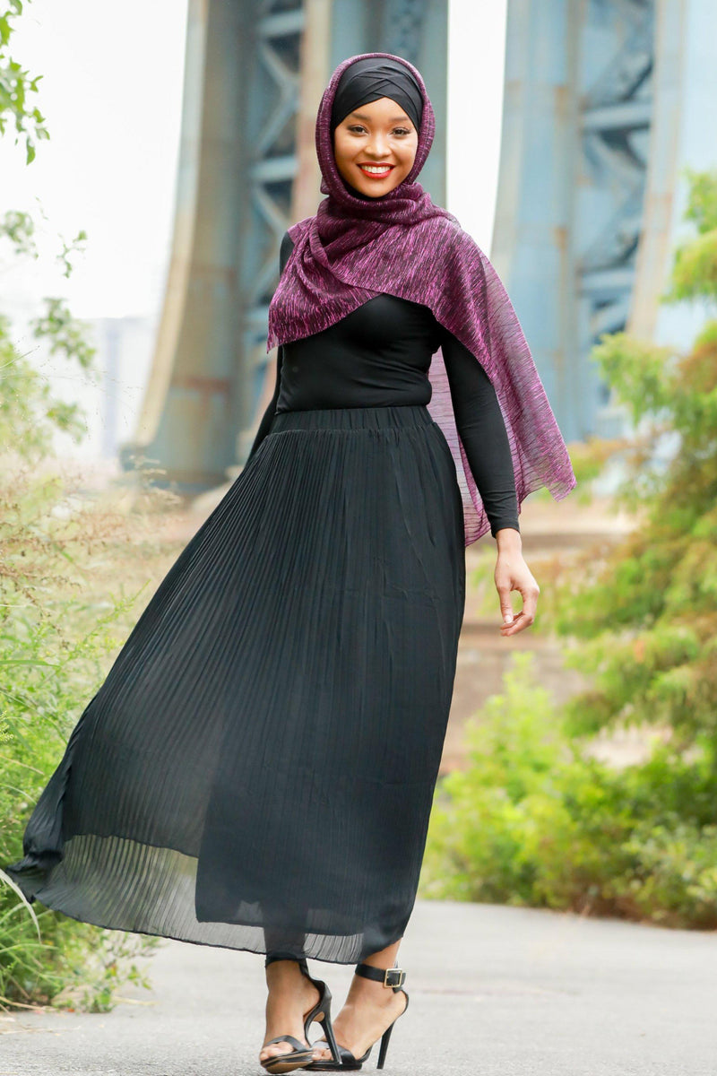 Black Pleated Chiffon Maxi Skirt - Abaya, Hijabs, Jilbabs, on sale now at UrbanModesty.com