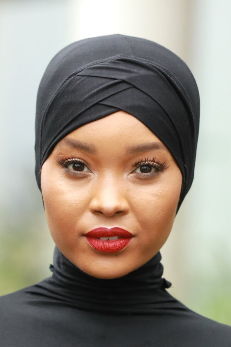 Black Criss-Cross Hijab UnderScarf - Abaya, Hijabs, Jilbabs, on sale now at UrbanModesty.com