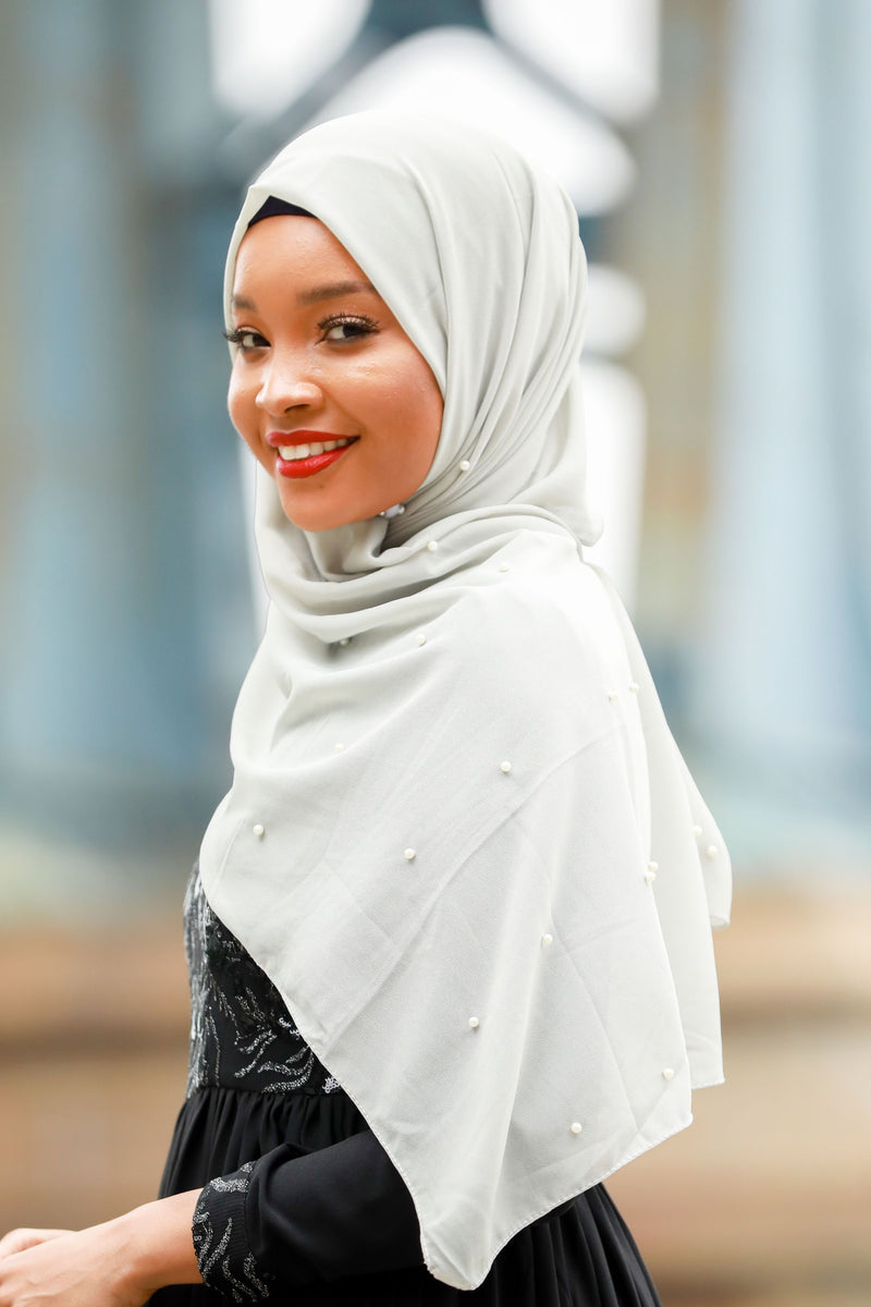 Gray Pearl Chiffon Hijab - Abaya, Hijabs, Jilbabs, on sale now at UrbanModesty.com
