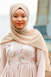 Taupe Pearl Chiffon Hijab - Abaya, Hijabs, Jilbabs, on sale now at UrbanModesty.com