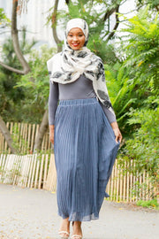 Gray-Blue Pleated Chiffon Maxi Skirt-Clearance - Abaya, Hijabs, Jilbabs, on sale now at UrbanModesty.com