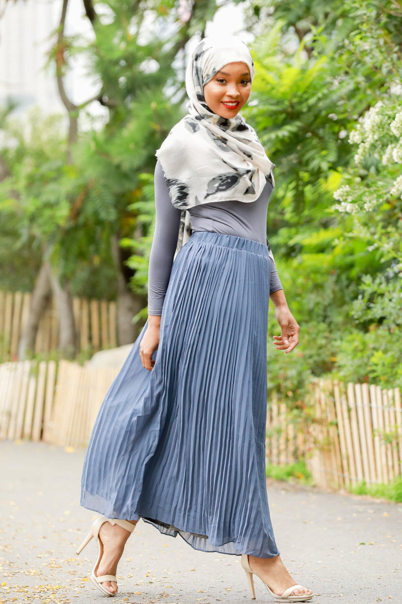Gray-Blue Pleated Chiffon Maxi Skirt - Abaya, Hijabs, Jilbabs, on sale now at UrbanModesty.com