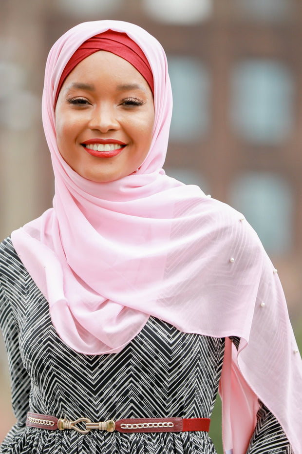 Powder Pink Pearl Chiffon Hijab - Abaya, Hijabs, Jilbabs, on sale now at UrbanModesty.com