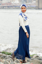 Navy Blue Pleated Chiffon Maxi Skirt-Clearance - Abaya, Hijabs, Jilbabs, on sale now at UrbanModesty.com