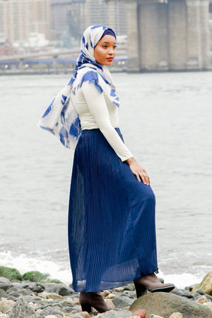 Navy Blue Pleated Chiffon Maxi Skirt - Abaya, Hijabs, Jilbabs, on sale now at UrbanModesty.com