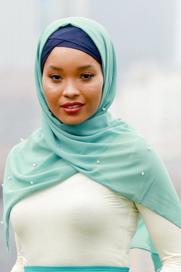 Sea Green Pearl Chiffon Hijab - Abaya, Hijabs, Jilbabs, on sale now at UrbanModesty.com