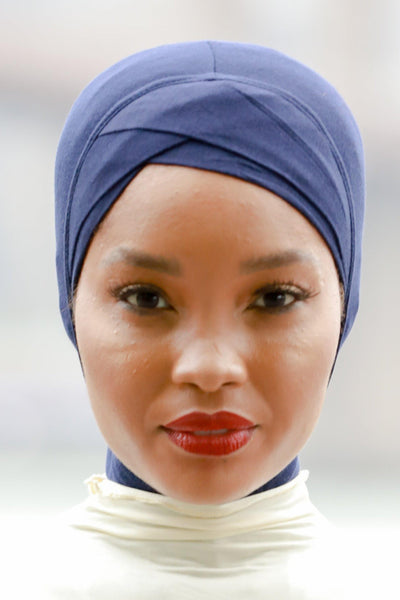 Navy Blue Criss-Cross Hijab UnderScarf - Abaya, Hijabs, Jilbabs, on sale now at UrbanModesty.com