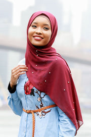 Maroon Pearl Chiffon Hijab - Abaya, Hijabs, Jilbabs, on sale now at UrbanModesty.com