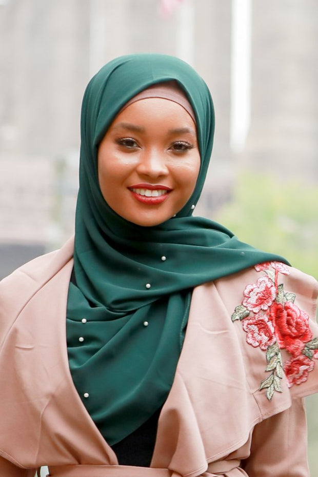 Hunter Green Pearl Chiffon Hijab - Abaya, Hijabs, Jilbabs, on sale now at UrbanModesty.com