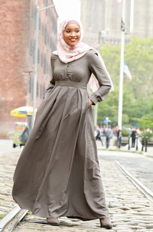 Gray Lattice Abaya Maxi Dress NEW - Abaya, Hijabs, Jilbabs, on sale now at UrbanModesty.com