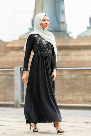 Eleanoir Black Long Sleeve Evening Gown - Abaya, Hijabs, Jilbabs, on sale now at UrbanModesty.com