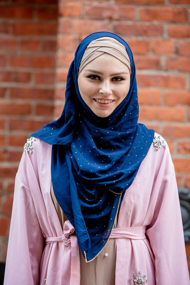 Navy Blue Beaded Chiffon Hijab