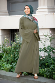 Hunter Green Kimono Abaya Maxi Dress