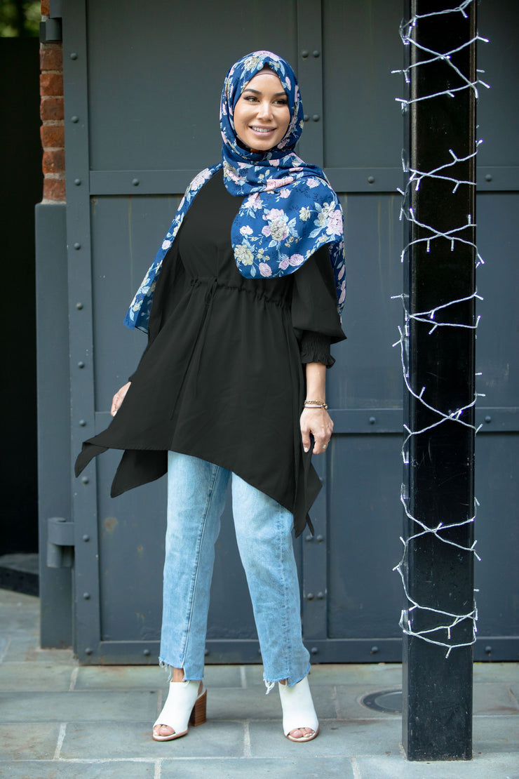 Black Drawstring Tunic Top