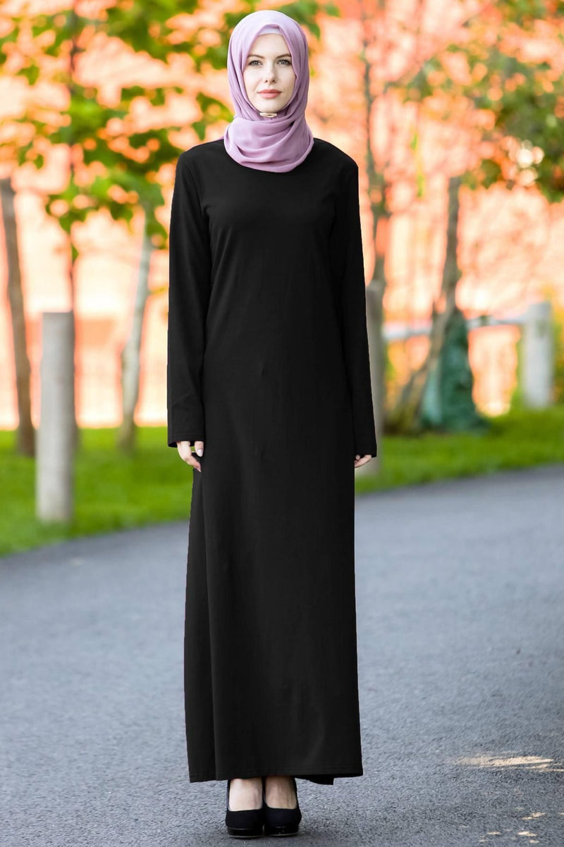Black Long Sleeve Maxi Dress- CLEARANCE - Abaya, Hijabs, Jilbabs, on sale now at UrbanModesty.com