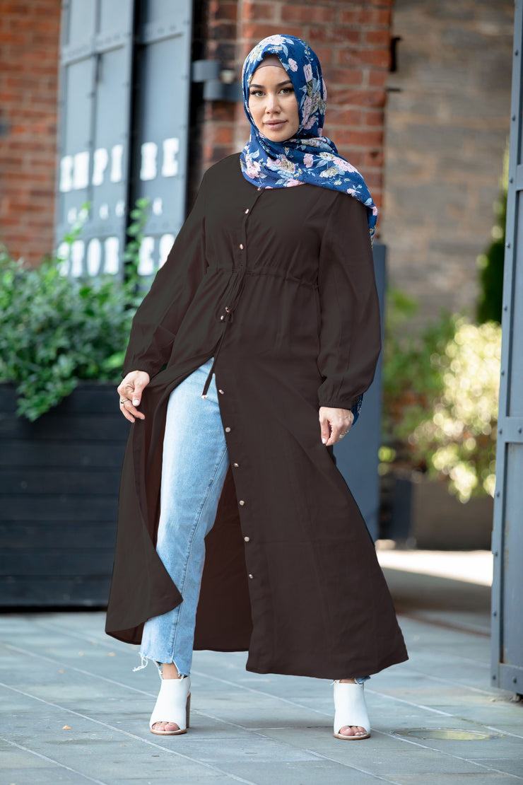 Black Button Down Non Sheer Maxi Cardigan