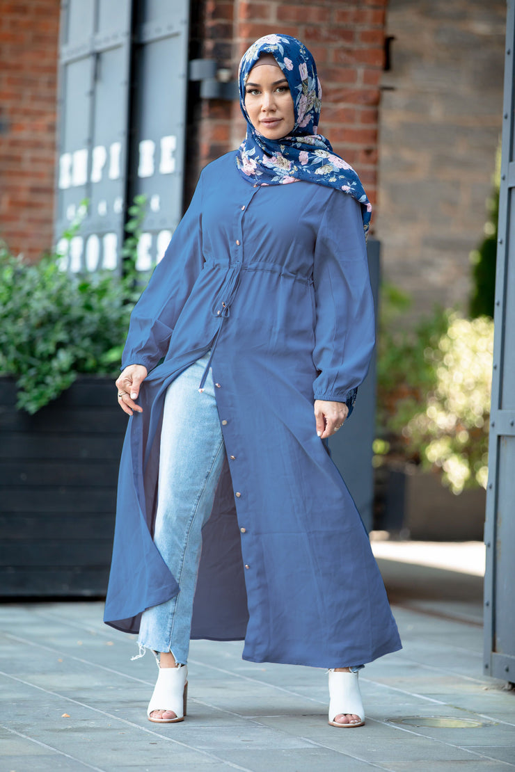 Blue Button Down Non-Sheer Maxi Cardigan