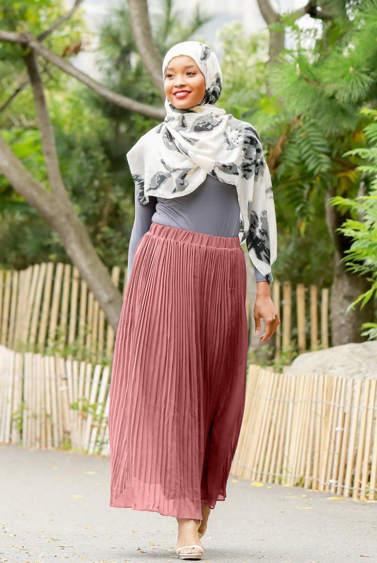 Dusty Pink Pleated Chiffon Maxi Skirt